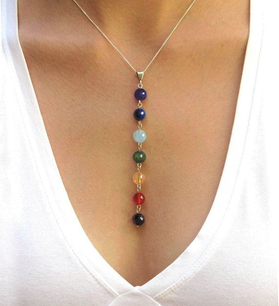 Chakra Necklace, Yoga Gift, 7 Chakra Balancing Pendant, Chakra Beads in Gemstones & Sterling Silver #gemstonejewelry