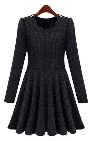 Grey Long Sleeve Zipper Shoulder Pleated Dress | La mode ...
