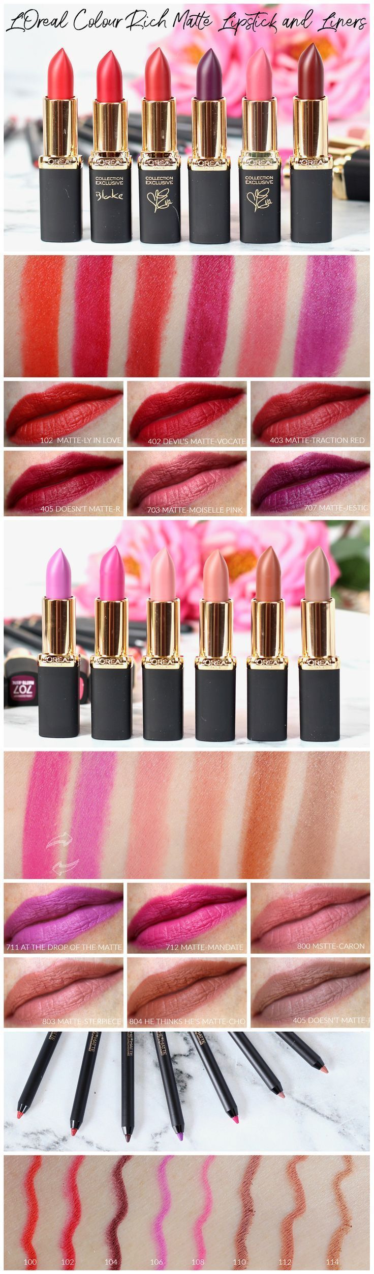L'Oreal Colour Riche Matte Lipsticks and Liners Review and
