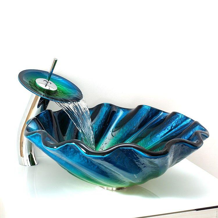 Blue&Green Seashell Wave Tempered Glass Vessel Sink & Waterfall ...