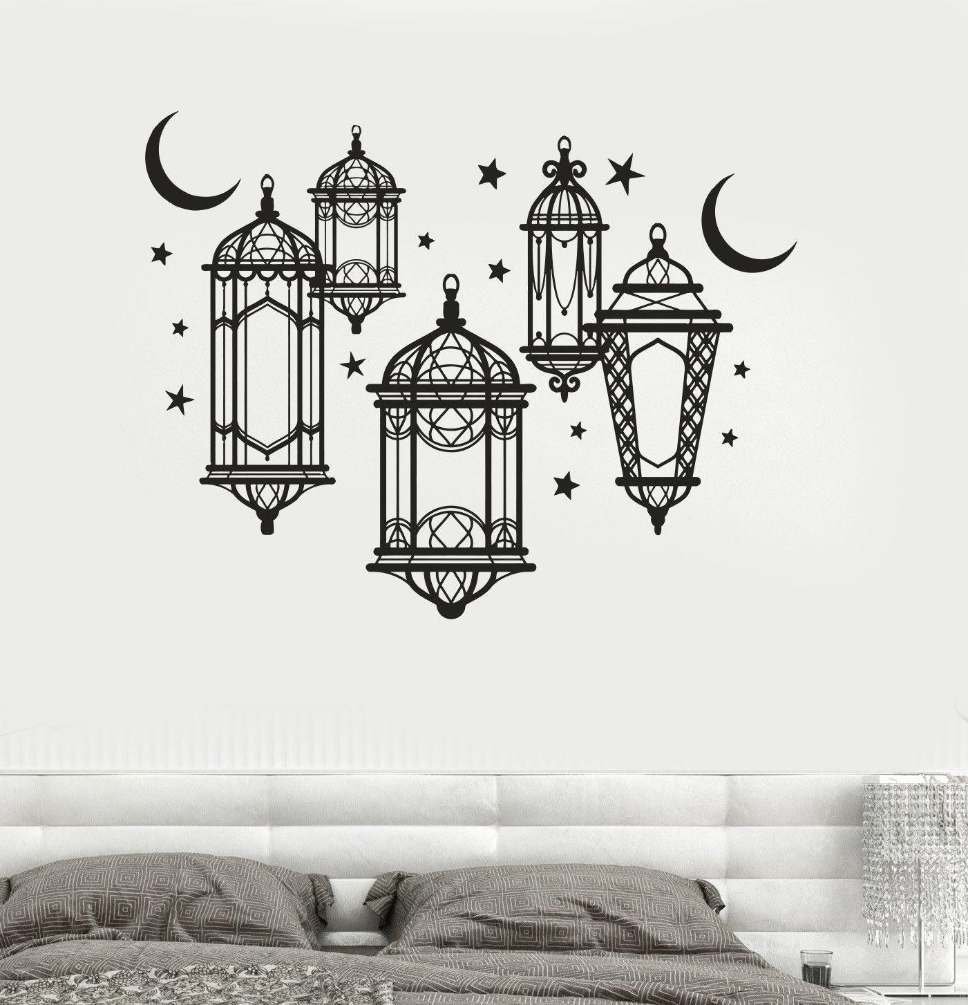 vinyl wall decal lamp light moon stars bedroom art on wall stickers for bedroom id=21191