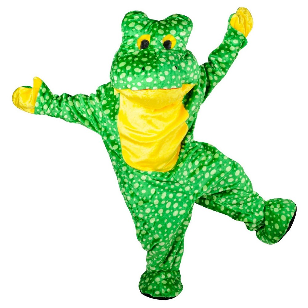 Men's Deluxe Plush Frog Mascot Adult Costume One Size Fits Most, Green