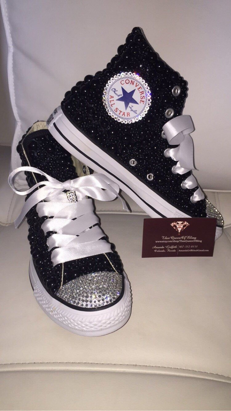 9de2069d40f4 BLACK OR RED high-top pearl and Swarvoski Converse Prom Shoes