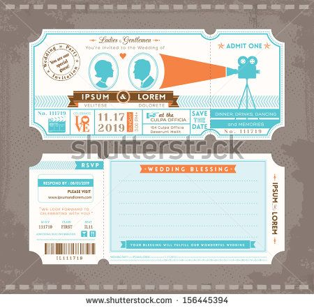 Vector Movie Ticket Wedding Invitation Design Template - stock