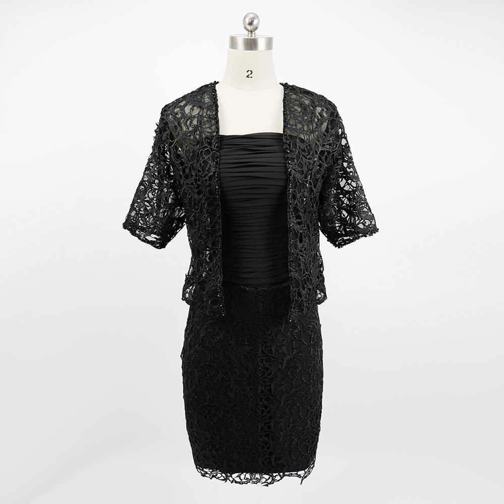 Black Mother of the Bride Short Dress with Jacket Lace Plus Size