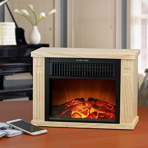 AKDY 13 Wood Color Freestanding Tabletop Portable Log Style Electric  Fireplace Heater Stove W 3D Flame