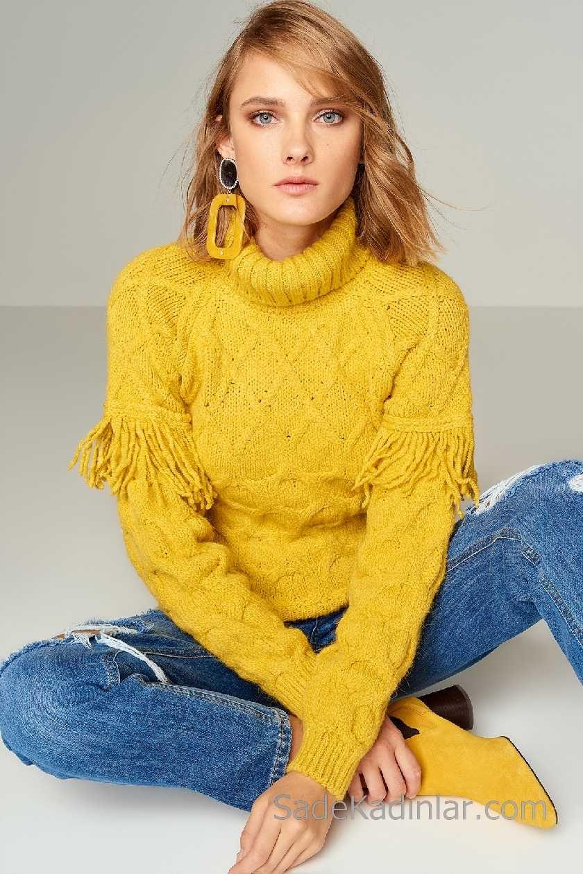 2021 Bayan Sari Kazak Bogazli Puskullu Sevimli Kiyafetler Moda Stilleri Kazak Elbise