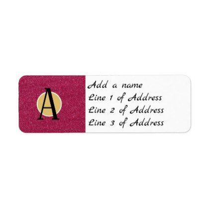 Pink Glitter Letter Initial Monogram Label  Return Address