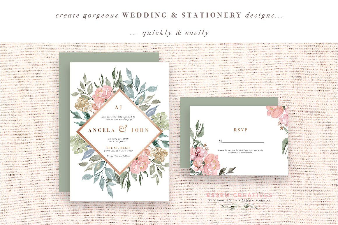 Vintage Neutral Watercolor Flowers Graphics Rustic Rose Gold