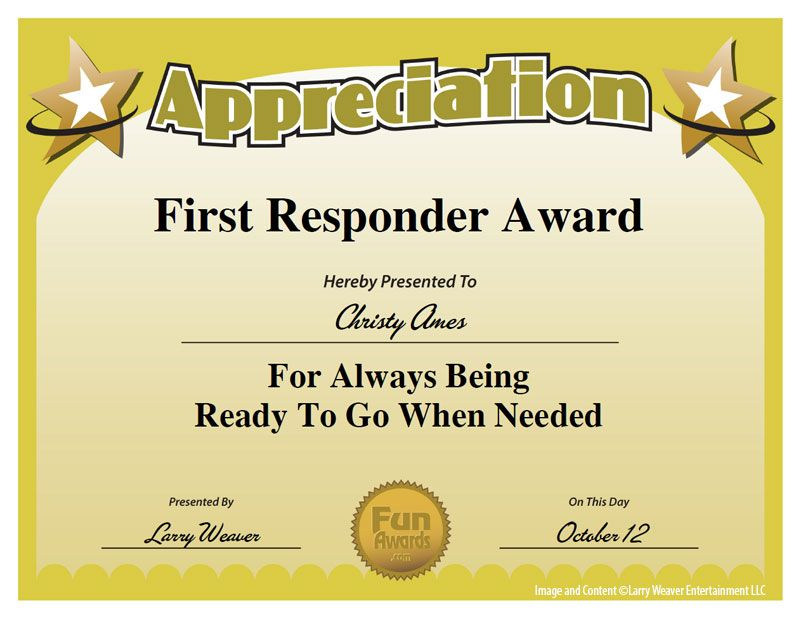 First responder award work pinterest appreciation for Funny certificates for employees templates