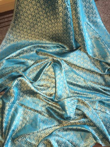 1-MTR-TURQOISE-GOLD-BROCADE-FABRIC-45-034-WIDE-3-99-NEW-IN-STOCK
