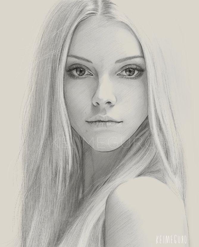 Картинки девушек лицо карандашом, подложка днем