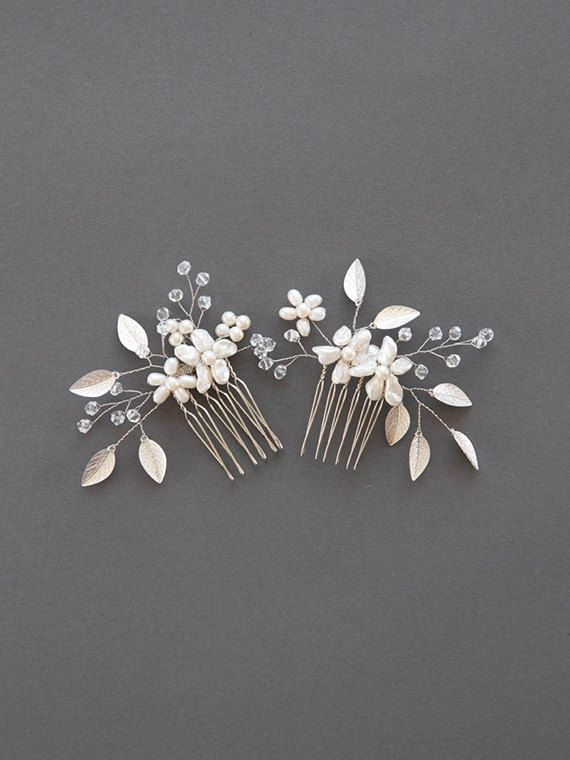 Hair comb Bridal hair comb silver for wedding Bridal hair jewelry with crystal leaves Hair piece with crystal