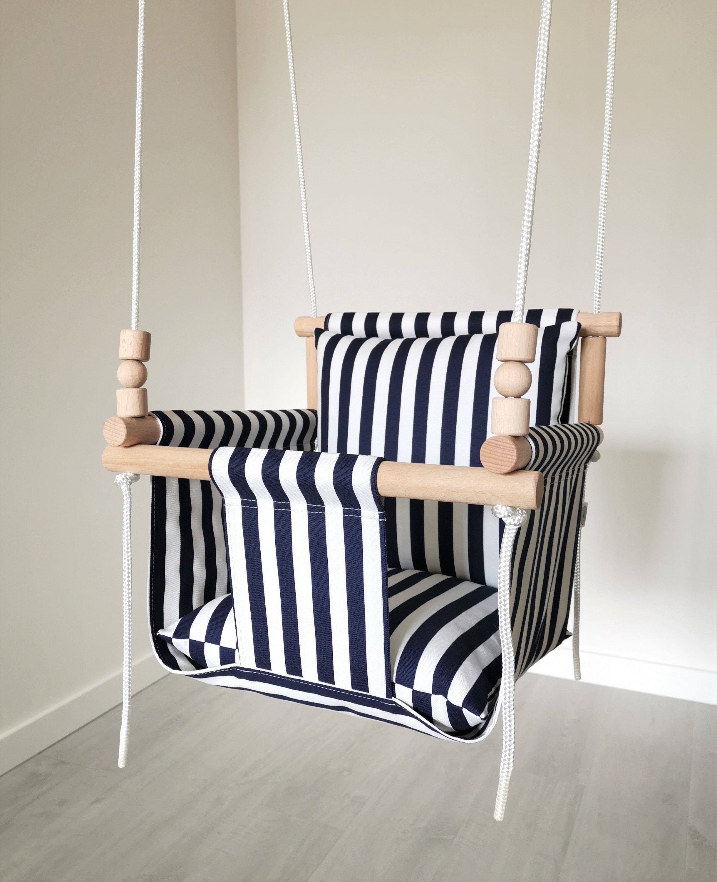 Comfortable Design Navy White Stripes Baby Swing Ships Fast Toddler Swing Natural Swing Cotton Swing Indoor Swing Baby Swing Chair Baby Swing Chair Toddler Swing Baby Swings