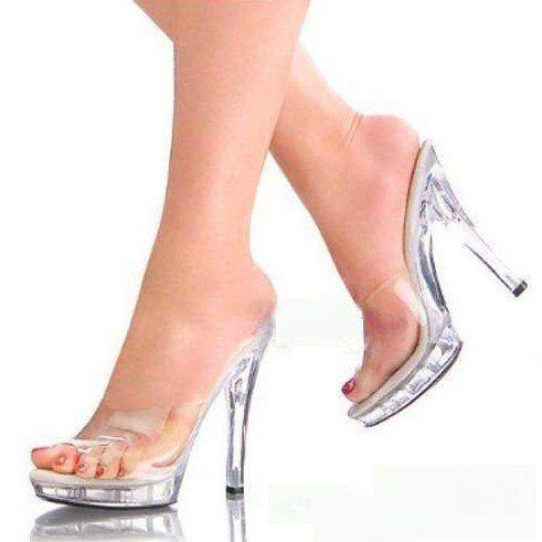Full Clear Platforms Women Open Toe 13cm High Heel Shoes Slippers ...