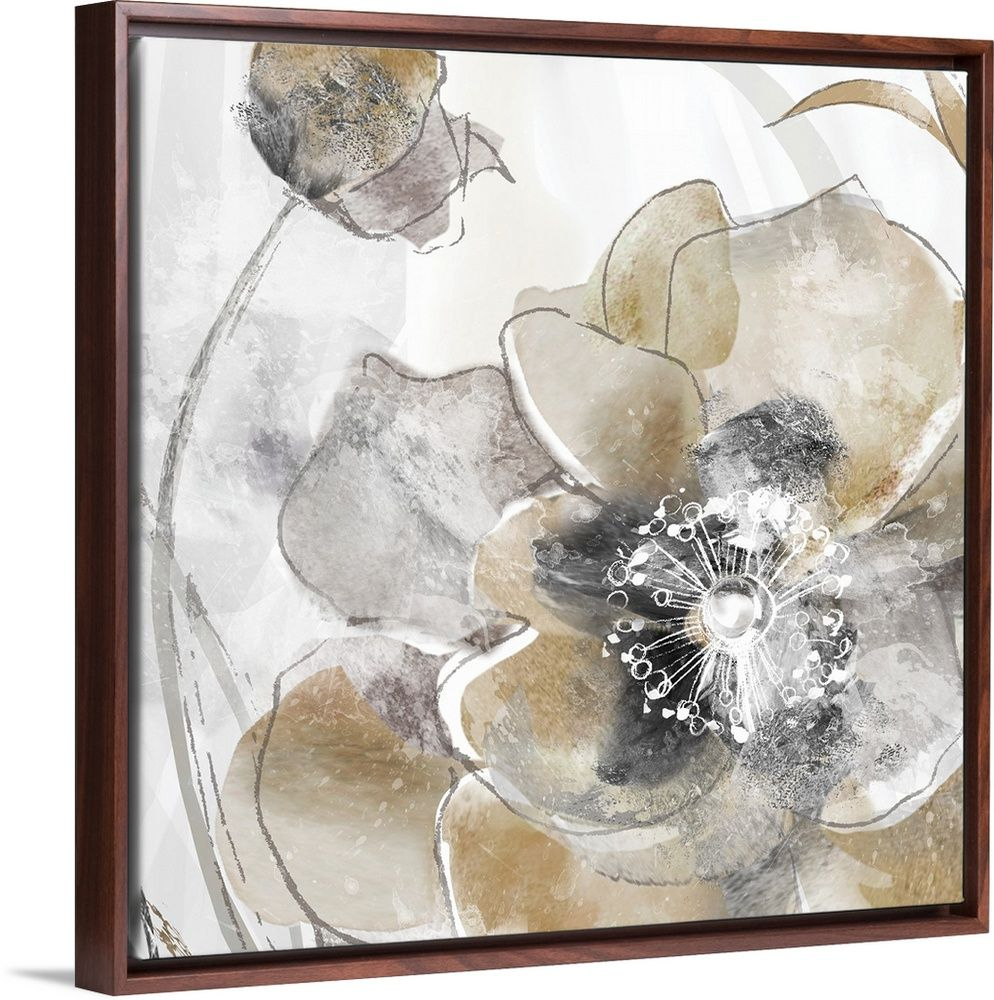 Taupe Spring Poppy I Abstract Canvas Abstract Canvas Painting Canvas Wall Art