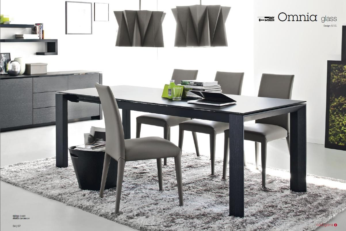 Calligaris Omnia Extendable Glass Table Acid Etched Black