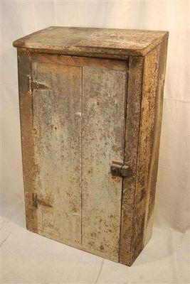 Fantastic Antique Shabby Primitive Distressed Wall Storage Cabinet Slant Top