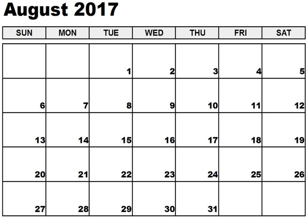 august 2017 calendar to print August 2017 Calendar Pinterest - printable calendar sample