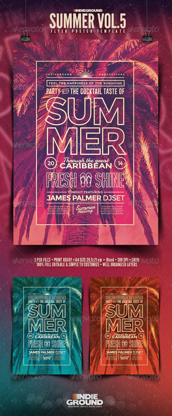 Summer FlyerPoster Vol   Print Templates And Flyer Template