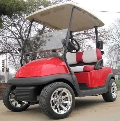 Candy Apple Red 48v Electric Club Car Golf Cart With Custom Rims Red White Seats Club Car Golf Cart Golf Carts Electric Golf Cart