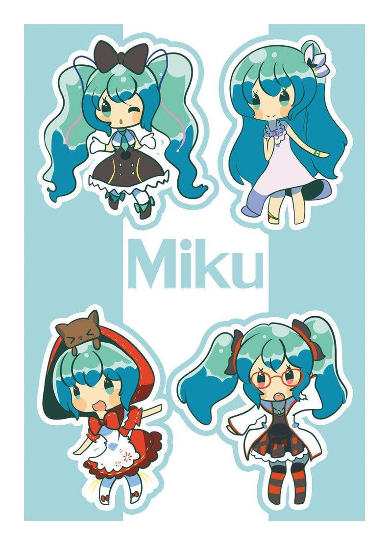 Mini Miku Sticker Sheet Etsy In 2021 Miku Sticker Sheet Hatsune Miku