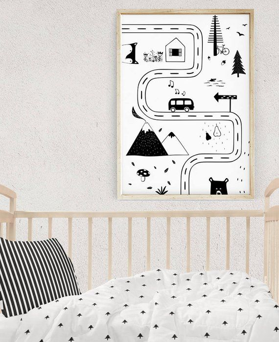 Kindergarten-Straßenkarte, schwarz und weiß Kinderzimmer Ideen, skandinavischen Kindergarten Kunst, Kinder Schlafzimmer Dekor, Spielzimmer Wandkunst, Baby-Geschenk, Kinder Poster