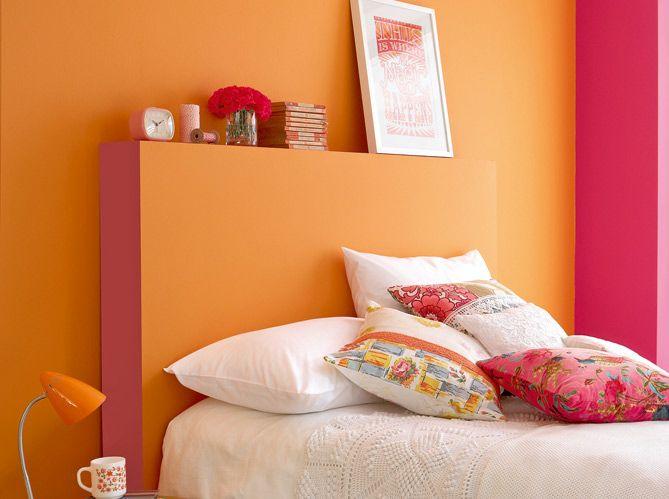 mur-chambre-rose-et-orange.jpg (669×499) | déco intérieure ...