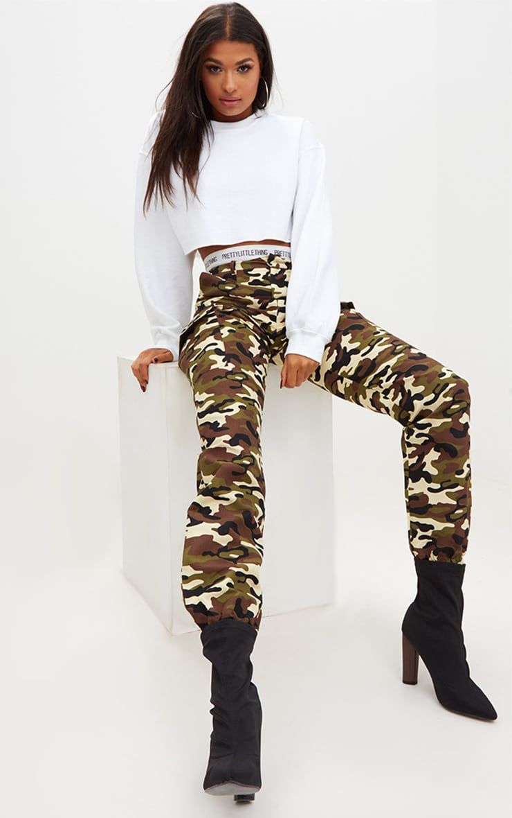 b58b83161bc3 Stone Camo Print Cargo Trousers. Shop the range of trousers today at  PrettyLittleThing. Express delivery available. Order now