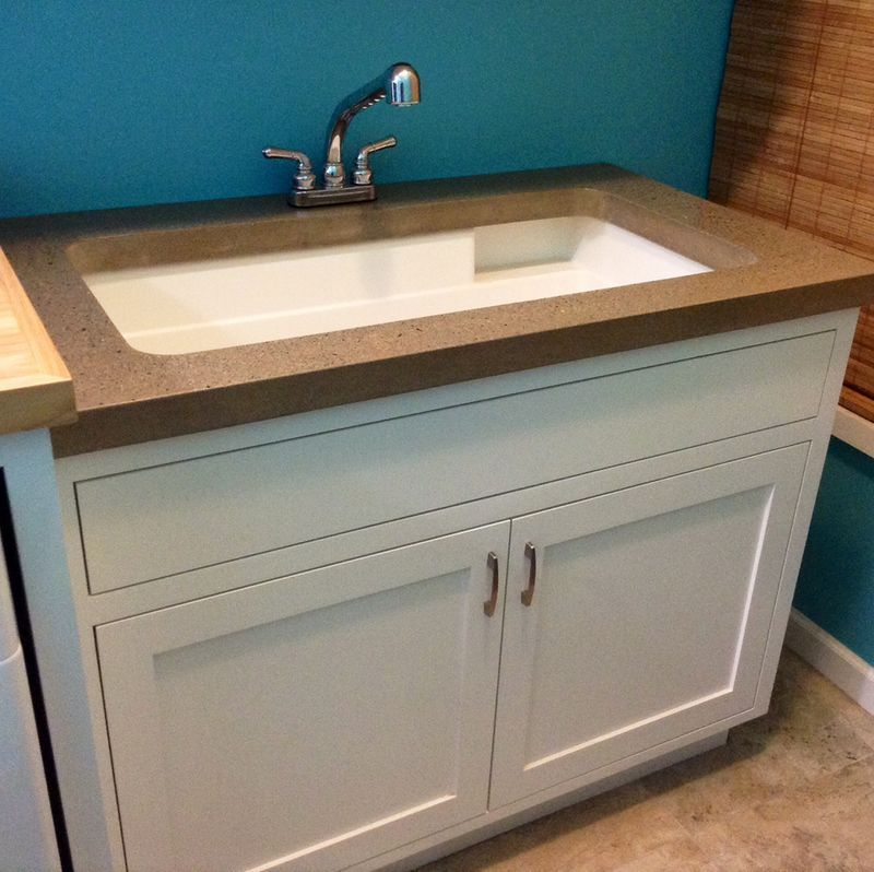 Custom Laundry Room Utility Sink With Concrete Countertop Custom Laundry Room Laundry Room Utility Sink Utility Sink