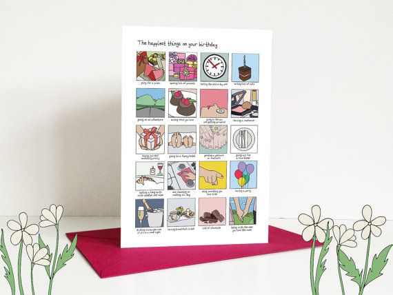 Birthday Card The Happiest Things A5 Greeting Card With Pink