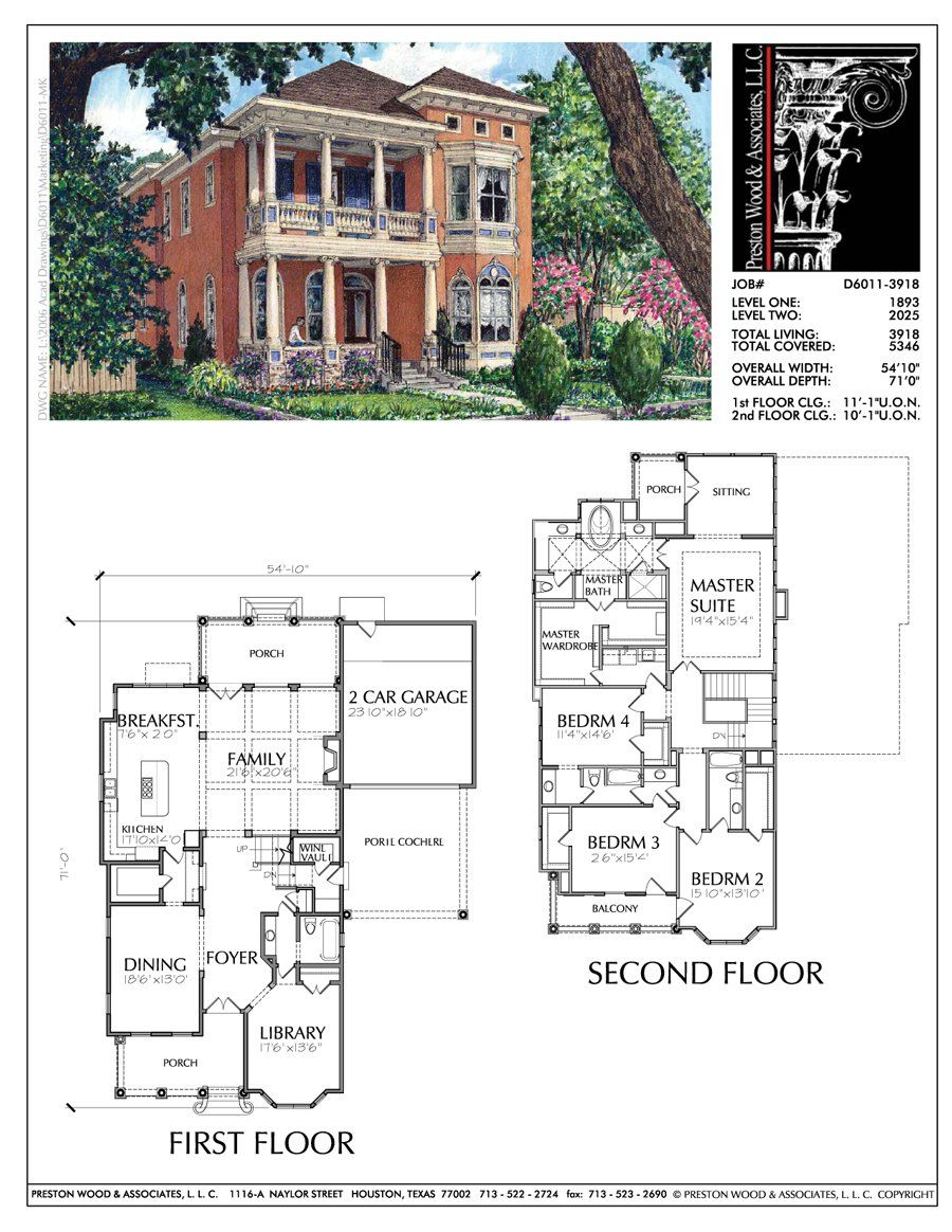 Two Story Home Plan Bd6011 Custom Home Plans Narrow House Plans Porch House Plans