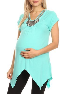 White Mark Maternity 'Myla' Embellished Tunic - Teal - S #tunicdesigns