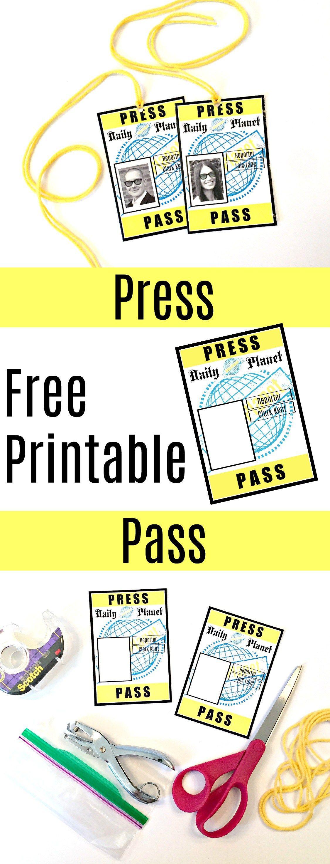 Free Printable Press Pass For Lois Lane And Clark Kent