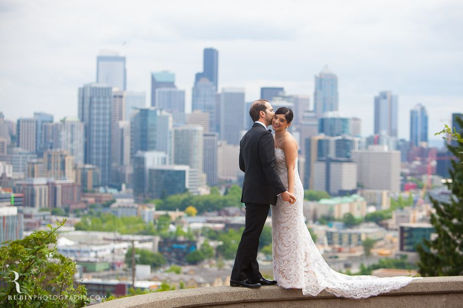 bride and groom Seattle City Skyline Destination Wedding Photography By Rubin Photography based in Sonoma_0025
