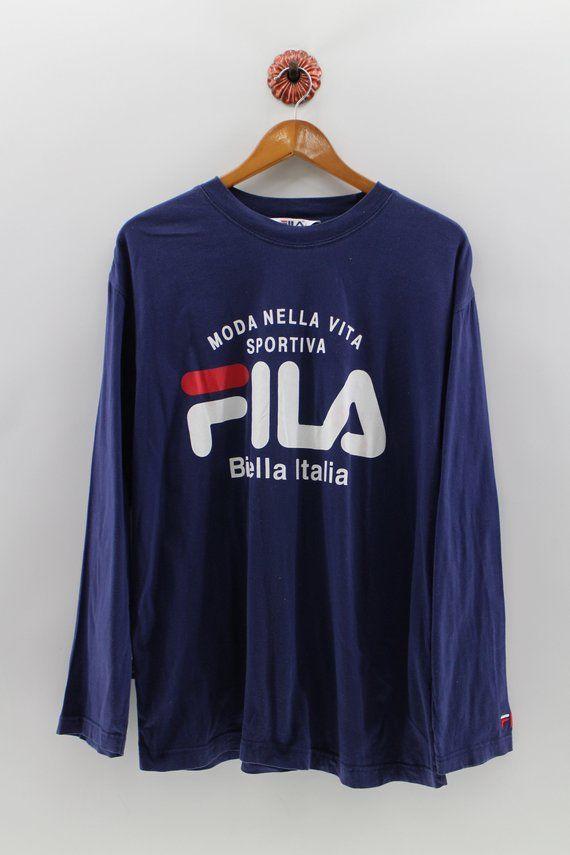 8da3827d FILA Biella Italia Long Sleeves FILA Shirt Womens Medium Fila Italia  Roundneck Shirt Big Logo Fila T