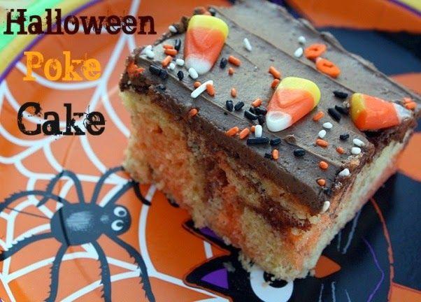 Halloween Poke Cake {Jell-O Poke Cake} #charlestoncheesedips