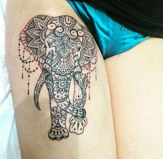 """résultat de recherche d'images pour """"tatouage elephant cuisse"""