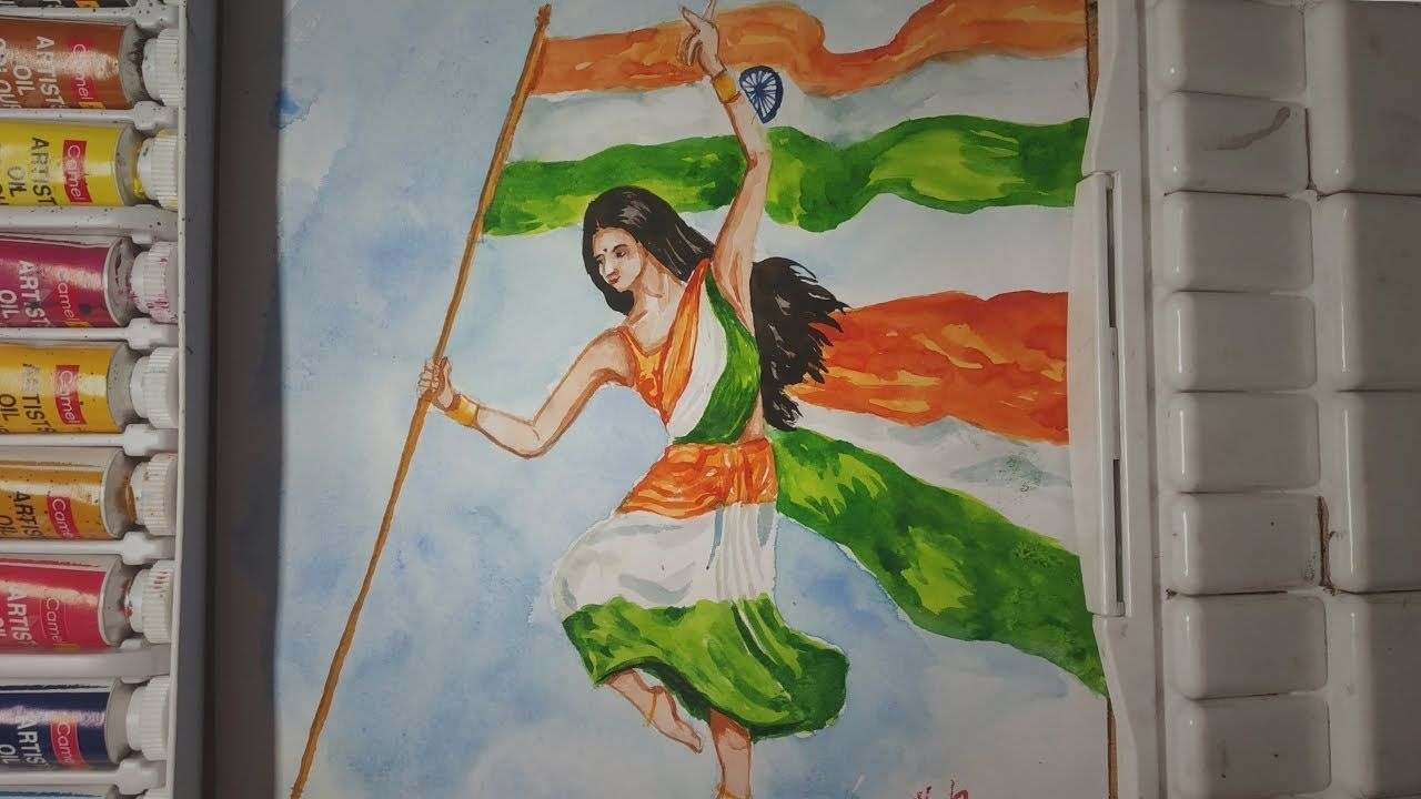 Independence Day Drawing In Watercolor 15th August Painting Republi Independence Day Drawing Earth Day Drawing Save Water Poster Drawing