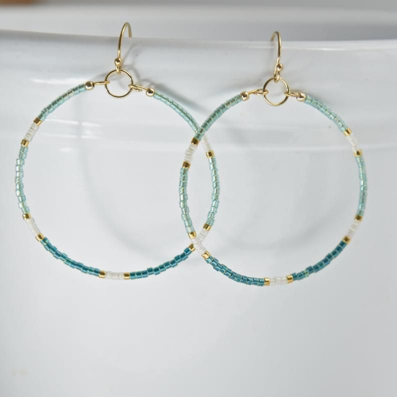 Photo of Colorful Bead Hoop Earring – Seed Bead Hoop Earring – Miyuki Bead Hoop – Boho Jewelry -Beachy Hoop Earring – Colorful Bead Gold Hoop Earring