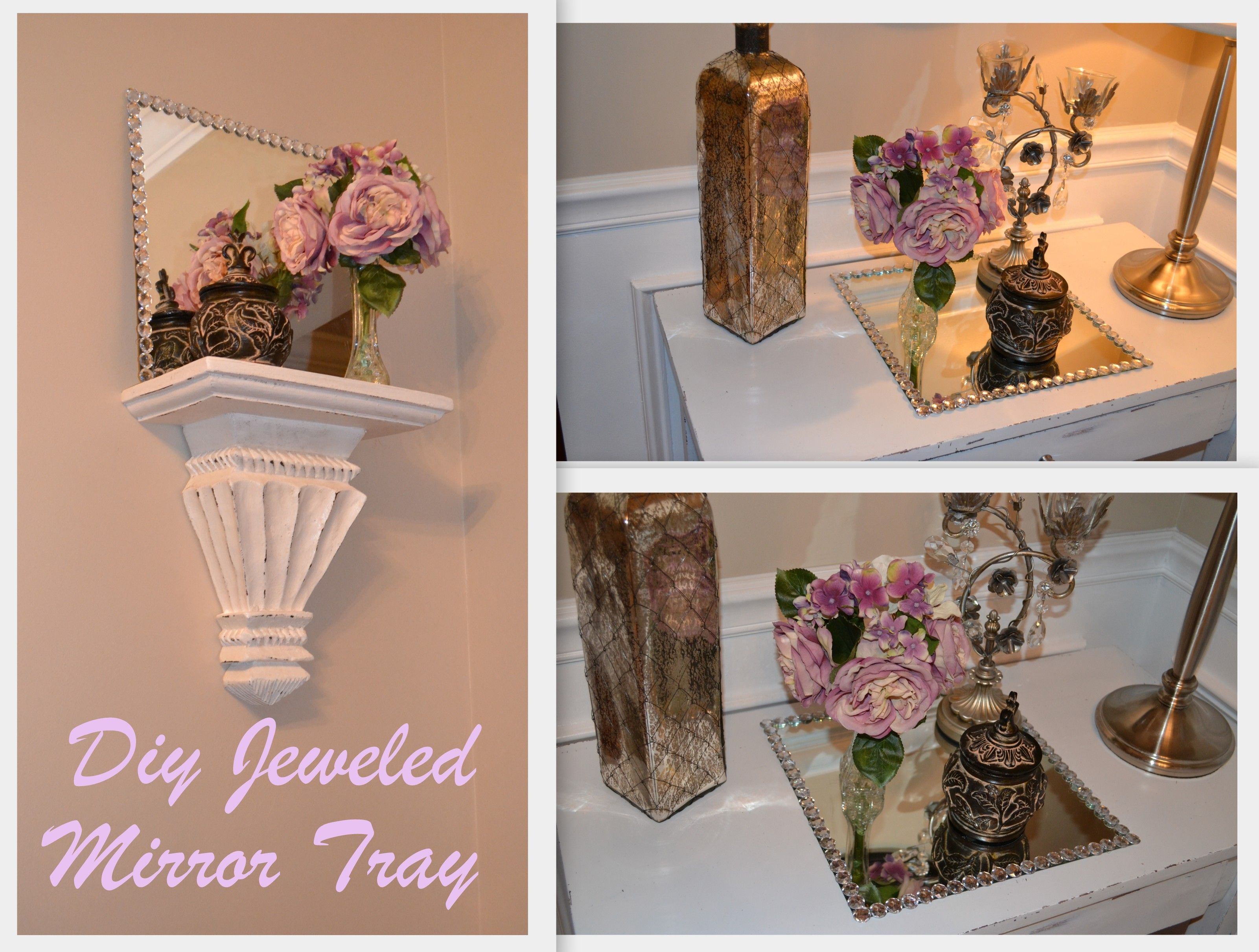 DIY Jeweled Mirror Tray you can go to Lowes and have them cut any