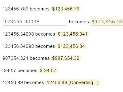 Jquery Plugin For Currency Formatting And Converting Currency
