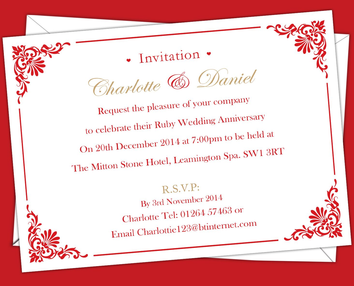 Ruby Wedding anniversary Invitations. Prices start from £6