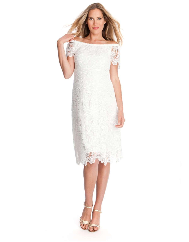 White crochet lace maternity dress full wedding attire white crochet lace maternity dress full ombrellifo Images