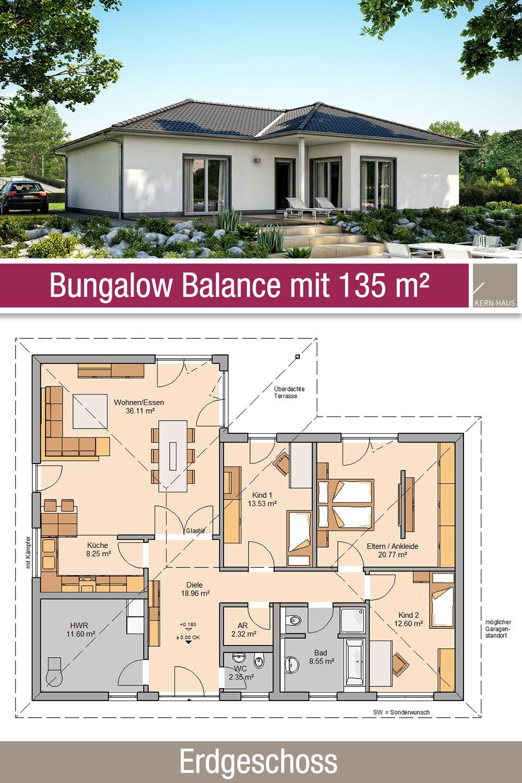 Bungalow Grundriss 135 m² 4 Zimmer Erdgeschoss