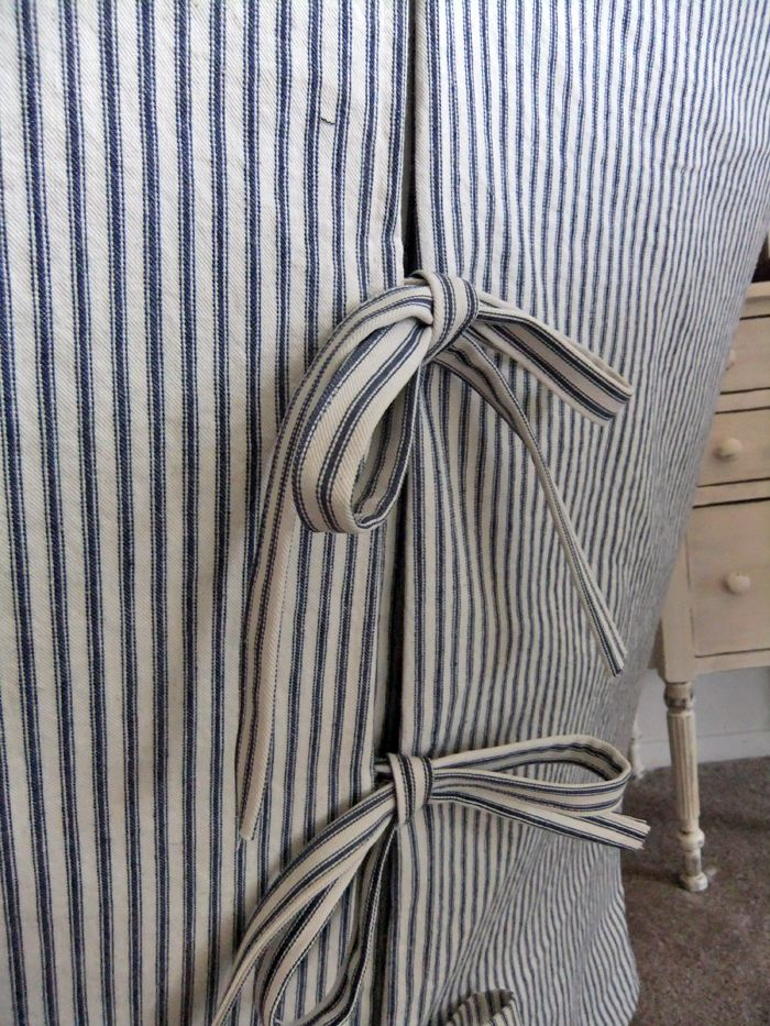 Ticking Slipcover With Simple Tie Closure At Back Slipcovermaker