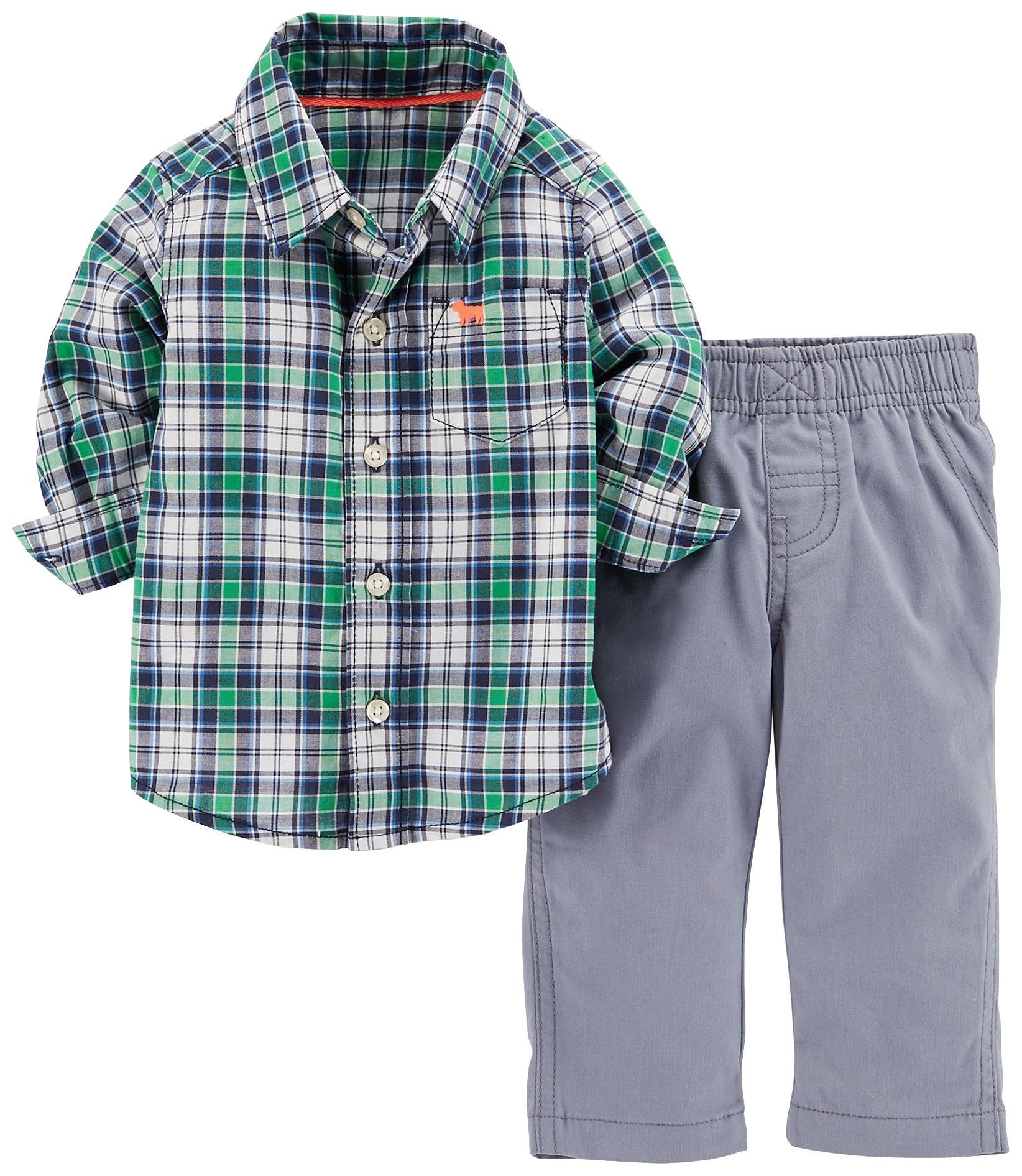 0e406146c Carters Baby Boys 2 Piece Pant Set Baby Green Plaid 12 Months *** Click  image to review even more details. (This is an affiliate link).