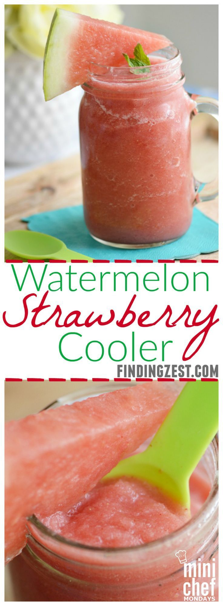 Watermelon Strawberry Cooler: Give this refreshing summer ...  #watermelonsmoothie #watermelon #smoothie