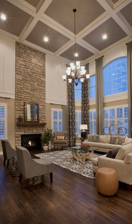 #homedesign #livingroomdecor #inspiration | Traditional formal open concept living room in Boston with white walls, dark hardwood floors, a standard fireplace and a stone fireplace surround. — Houzz