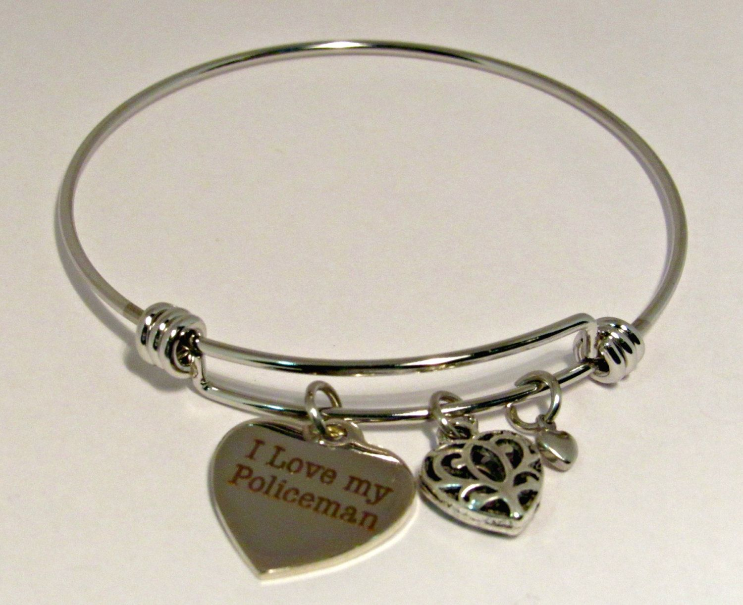 my stainless bracelet products bangle wire bangles adjustable steel bracelets fireman soul firefighter spirit charm